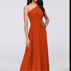 One shoulder georgette cascade bridesmaid dress